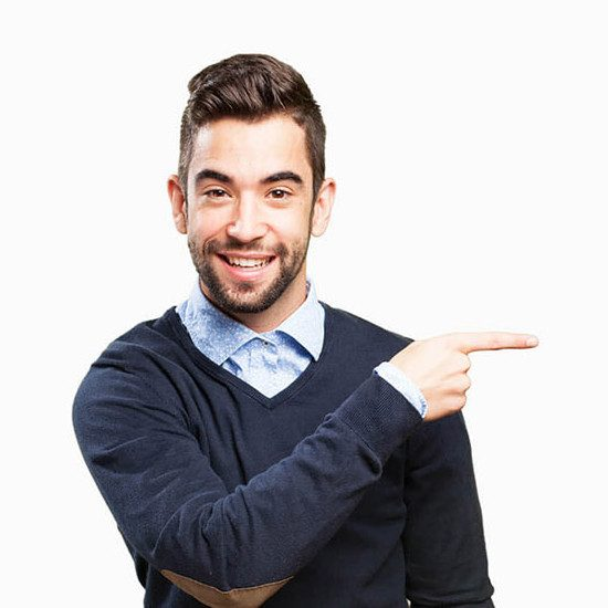 man pointing at blurb